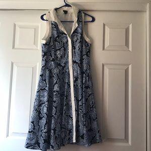 Sleeveless collared button up Ann Taylor dress